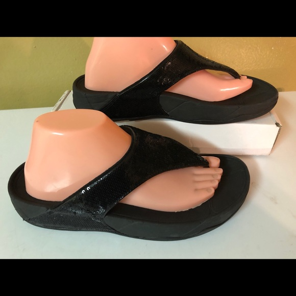 cb728b142 Fitflop Shoes - FitFlop 034-001 Black Sequin Thong Sandals size 10